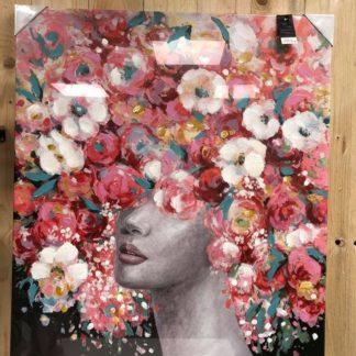 Toile femme fleurs. H100cm x L80xm